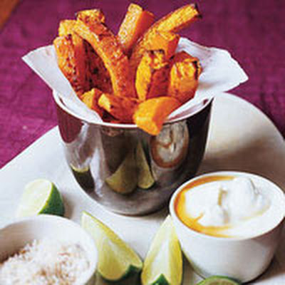 Butternut Squash Fries with Chili Salt and Maple Cream