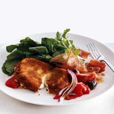 Fried Mozzerella with Arugula and Prosciutto