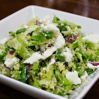 Shaved Brussels Sprout Salad With Cous Cous, Chia Seeds, And Honey Lime Dressing