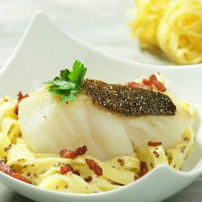 Norwegian Cod Fillet With Mustard Sauce, Fettuccine And Bacon Cubes