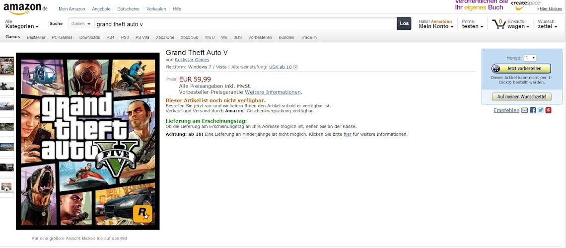 Amazon European sites list a PC version of GTA V