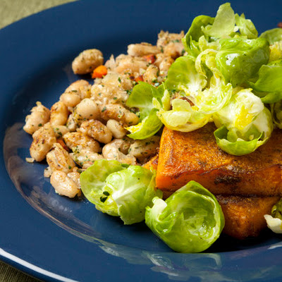 Butternut Squash with Brussels Sprouts, White Beans & Gremolata