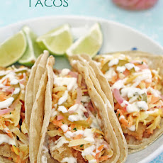 Fried Fish Tacos with Rainbow Slaw and Quick Pickled Onions