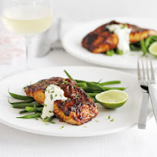 Grilled Salmon With Chilli Glaze & Lime Crème Fraîche