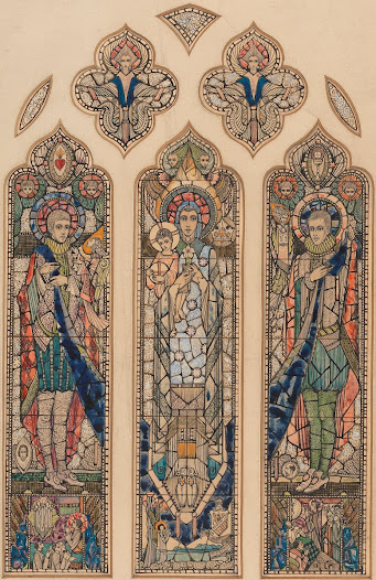Colour design for Belvedere College windows, offering more clarity about the saints depicted in the window: the two Jesuit saints, St Stanislaus Kotska on the left and St Aloysius Gonzaga on the right are holding a band of blue cloth that unites the three panels, with the Virgin Mary and the Christ Child in the centre. The profuse decorative elements that cover every surface of the design reference Harry Clarke's highly ornamental style. However, the actual colours bear little resemblance to the final window.