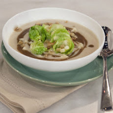 Celery Root Soup with Brussels Sprouts and Chestnuts