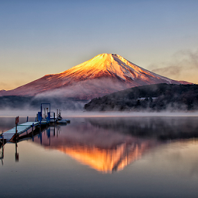 Mt.Fuji by Nyoman Sundra - Landscapes Sunsets & Sunrises ( mountain, sunset, fuji, lake, yamanaka, sunrise, landscape )