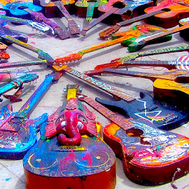 Guitar Circle by Ronnie Caplan - Artistic Objects Musical Instruments ( music, tuning keys, colourful, painted, venice beach, art, strings, necks, guitars, shadows, instruments, exhibit )