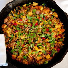 Three-Pepper Sausage Cornbread Dressing Recipe
