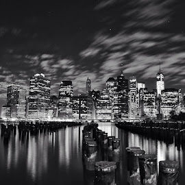 Gotham City. New York. Sep 2013. by Miguel Angel Ruiz - City,  Street & Park  Skylines ( water, skyline, dumbo, travel, usa, newyork, hudson, island, blackandwhite, night, nikon, brooklyn, mikeruiz5 )