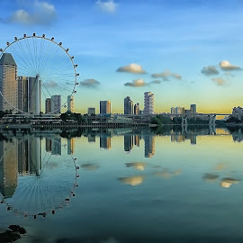 Skylines' Reflection by Ina Herliana Koswara - City,  Street & Park  Skylines ( flyer, reflection, cityscape, morning, singapore,  )