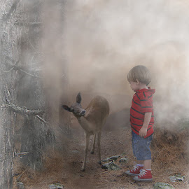 The meeting by George Leontaras - Digital Art Animals ( meeting.boy.forest, hellas, volos, tree, digital art, greece, glart, fine art, manipulation, photoshop )