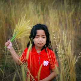 I am too tired to pose for more by Edi Haryono - Babies & Children Children Candids ( girl, red, tired, daughter, candid )