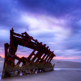 Blue Morning by Dana Walker - Landscapes Beaches ( oregon, shipwreck, pacific ocean, peter iredale, sunrise, beach )