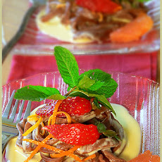 Chocolate Tagliatelles and its cardamom orange custard