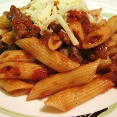 Penne With Sausage, Mushrooms and Red Wine