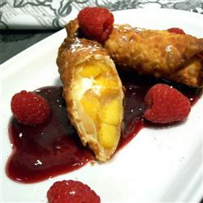 Quick and Easy Peach Pie Egg Rolls with Raspberry Sauce