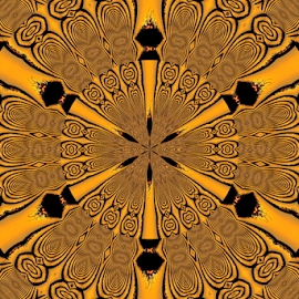 Kal 6 by Tina Dare - Digital Art Abstract ( abstract, patterns, kaleidoscope, manipulated, designs, amber, shapes )