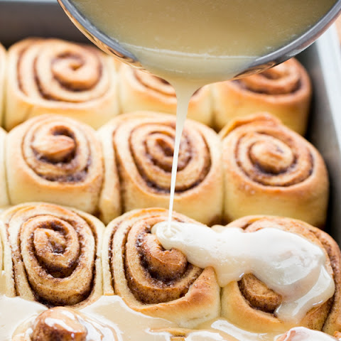 Softest Cinnamon Rolls with Salted Maple Glaze