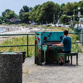 Music on the beach by Cory Bohnenkamp - Landscapes Beaches ( music, sand, piano, player, beach, sun )