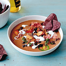 Black And Blue Corn Tortilla Soup With Bacon And Pumpkin