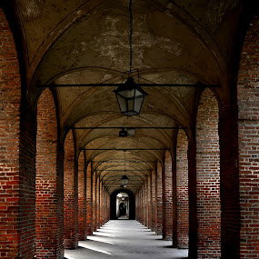 Sabbioneta by Luigi Alloni - Buildings & Architecture Public & Historical ( sabbioneta, colonnade, bricks, perspective light&shadow )