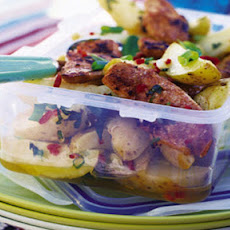 Moroccan BBQ chicken and potato salad