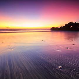The Twilight by Sunan Tara - Landscapes Sunsets & Sunrises ( water, bali, waterscape, twilight, seascape, beach, tabanan, landscape, dusk, sun, temple, love, sun goes down, indonesia, sunset, motion,  )