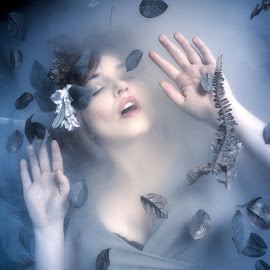 Sinking Under by Laura Dark - People Portraits of Women ( model, underwater, blue, ice, glass,  )