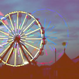 Abstract Ferris Wheel by Matt Franklin - Abstract Light Painting ( ride, fair ride, bonnaroo, carnival, fair, ferris wheel )