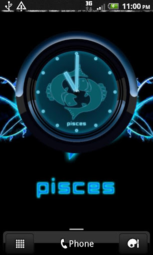 PISCES - Neon Blue Clock