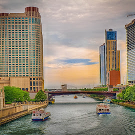 Chicago Riverway by Ron Meyers - Transportation Boats