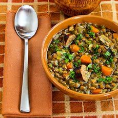 Slow Cooker Lentil Soup with Turkey Bratwurst, Leeks, and Sherry Vinegar