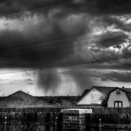 Rain by Mark Burgess - Landscapes Cloud Formations ( clouds, b&w, hdr, oklahoma, d7000, white, storm, nikon, spring, black, rain, shaft )