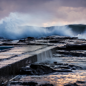Water in Motion by Bradley Rasmussen - Landscapes Waterscapes ( water, canon, bradley rasmussen photography, waterscape, 70-200, waves, sea, ef 70-200, ocean, nsw, landscape, 6d, photoshop cc, coalcliff, pool, australia, outdoor, cloud, lightroom, sunrise, surf, rocks )