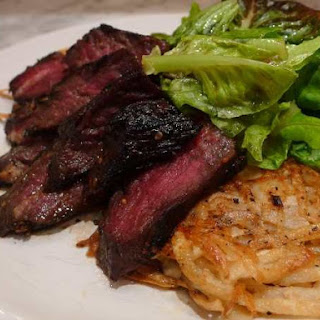 Grilled Hanger Steak with Korean Flavors and Spicy Potato Pancakes