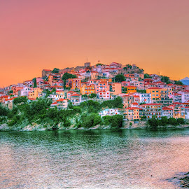 Panagia Kavala by Stratos Lales - City,  Street & Park  Vistas ( panagia, kavala, red, sunset, peninsula )