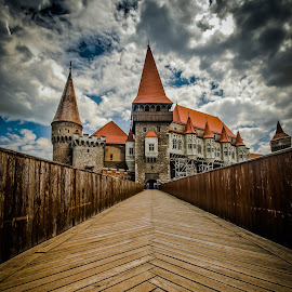 Castle from sky by Lupu Radu - Buildings & Architecture Statues & Monuments ( clouds, hunedoara, romania, castle, bridge, corvins castle,  )