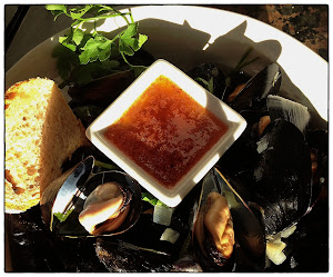 Steamed Mussels with Anchovy, Tomato & Garlic Butter