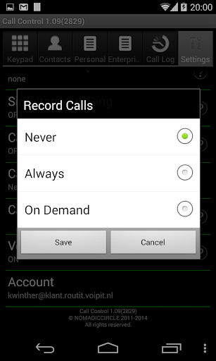 Call Control for BroadWorks - screenshot