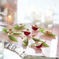 Radishes and Celery with Cream Cheese and Fig Jam