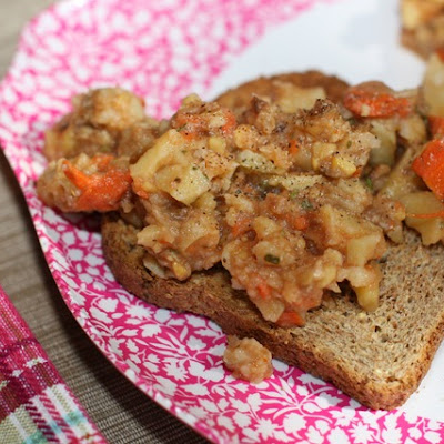 Potato, Chickpea, and Carrot Stew over Ezekiel Toast