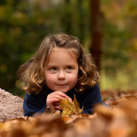 Autumn Mini-Sessions by Dominic Lemoine Photography - Babies & Children Child Portraits ( lying, girl, autumn, ground, leaves )