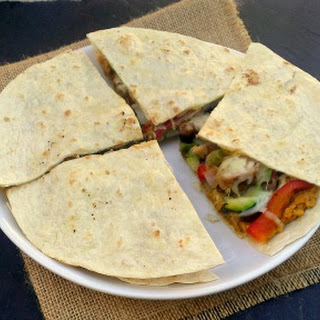 Spicy Hummus, Grilled Chicken and Vegetables Quesadillas