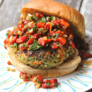 Quinoa Veggie Burger with Roasted Red Pepper Relish