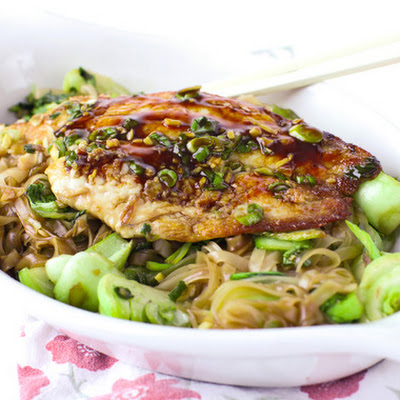 Ocean Perch with Soy Maple Glaze, Baby Bok Choy, and Rice Noodles