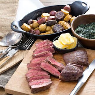 "Seared Flank Steaks with Roasted Potatoes & ""Creamed"" Kale"