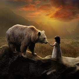 Friendship by Errys Wiskan - Digital Art Animals ( bear, child, digital imagine, fine art, manipulation )