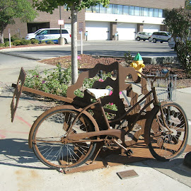Bike Sculpture on the Street by Linda McCormick - Artistic Objects Other Objects ( sculpture, bike, art on the street, iron bike, bike art )