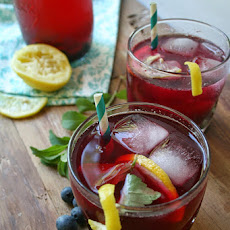 Blueberry Lemonade with Fresh Stevia Leaves
